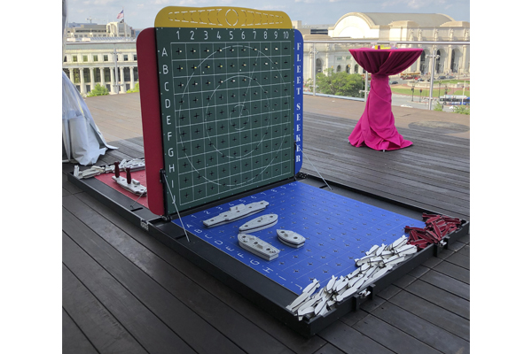 giant battleship at event on rooftop terrace