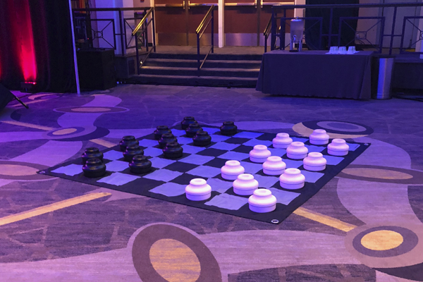 giant checkers on floor at hotel