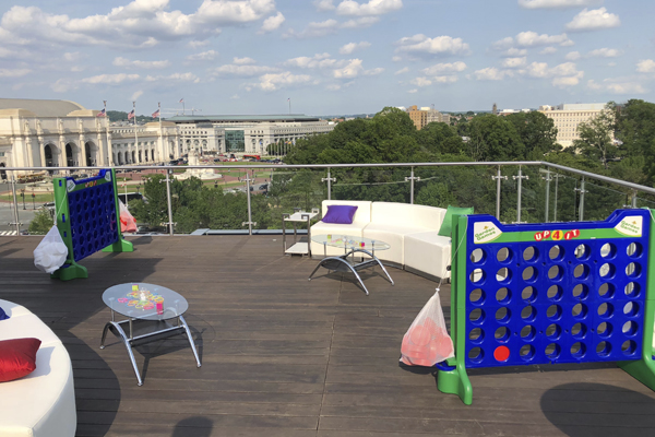 giant connect 4 on rooftop terrace