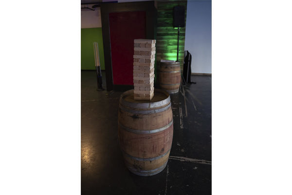 giant jenga on wine barrel at ajax dc