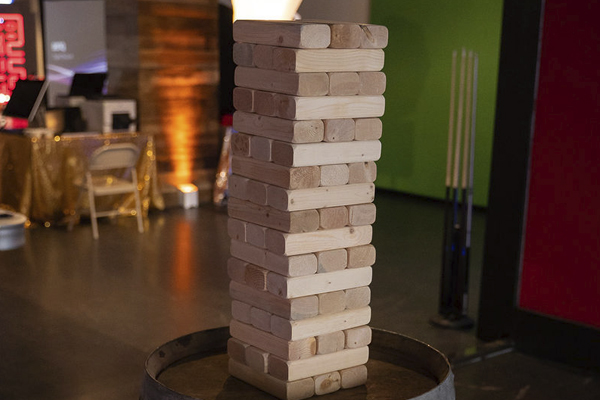 giant jenga on wine barrel close up