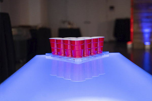 led beer pong table blue lights red solo cups
