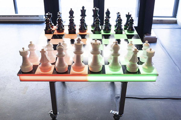 led chess checkers red and green lights