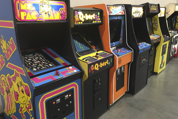 line up retro arcade games classic arcades