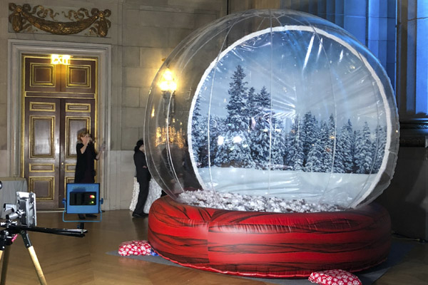 giant snow globe at amazon event